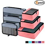 Packing Cubes Organizer Bags For Travel Accessories Packing Cube Compression 6 Set For Luggage Suitcase (Light Grey Pink)