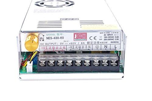 Adjustable DC Power Voltage Converter AC 110V-220V to DC 0-60V Module 60V 8A Switching Power Supply Digital Display 480W Voltage Regulator Transformer Built in Cooling Fan (DC 0-60V 8A)