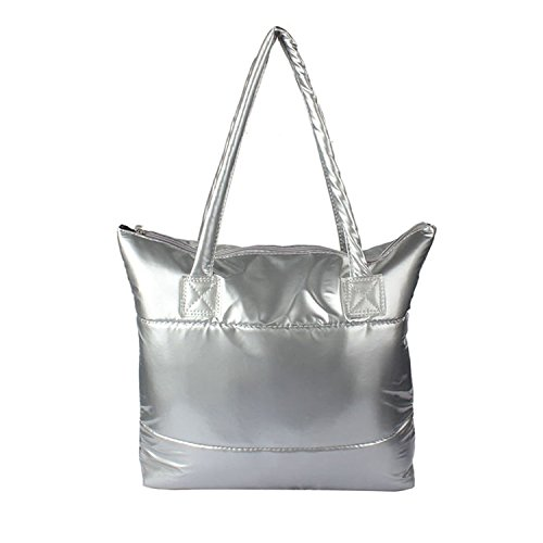 Cotton 1PC Bale Bag Atdoshop Feather Shoulder Girl Handbag Space Silver Down Totes Women q4RdXwC