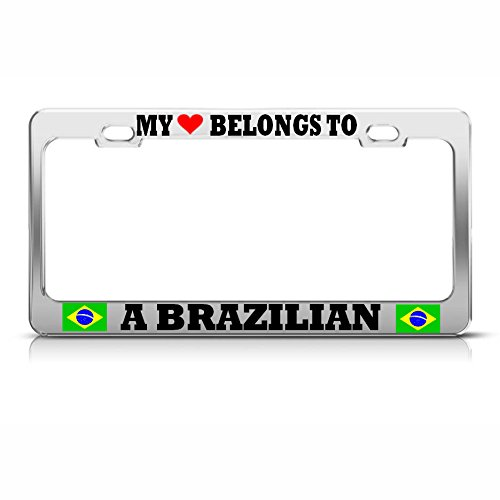Knife Bravo Rescue (Moon My Heart Belongs to A Brazilian License Plate Frame Brazil Pride AUTO SUV Tag Perfect for Men Women Car garadge Decor)