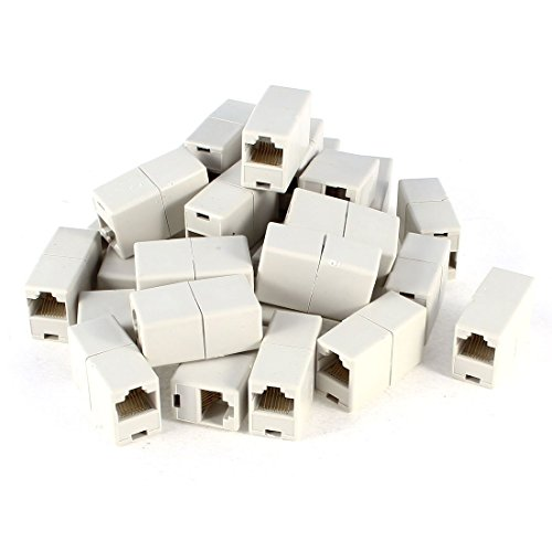 Cat6 rj45 coupler In-Line Dual Connector Modular in White Set of 20 Pcs (In Coupler Thru Modular Line)