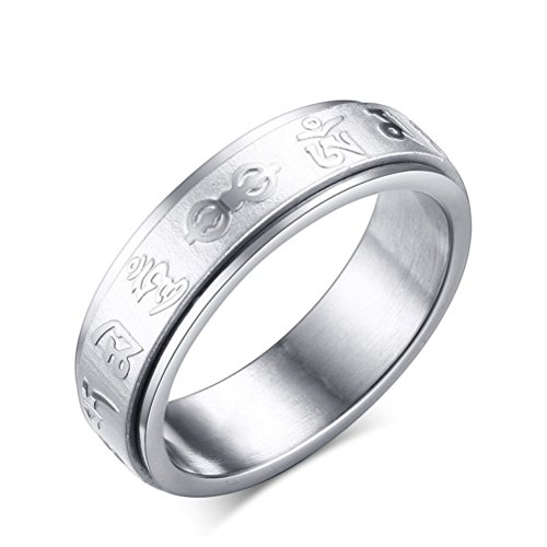 Mens Womens 6mm Stainless Steel Religious Band Spinner Om Mani Padme Hum Ring Comfort Fit ()
