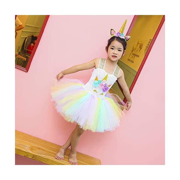 Unicorn Costume for Girls Dress Up Clothes for Little Girls Rainbow Unicorn Tutu with Headband Birthday Gift 8