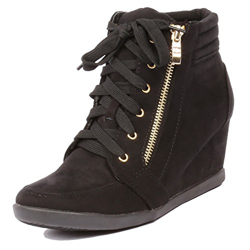Lace Up Suede Jean - Coshare Women's Fashion Peggy-56 Suede PU Lace Up Upper Wedge Sneakers, Black, 8.5 M US