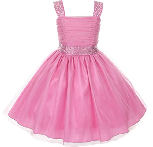 Little Girls Adorable Shinny Studded Rhinestone Sleeveless Flower Girls Dresses Pink Size 2