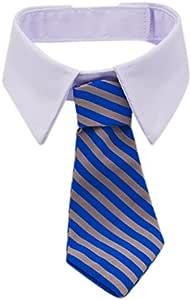 Kailian - Cosplay de cuello de camisa con corbata a rayas de algodón para perros, gatos y cachorros.