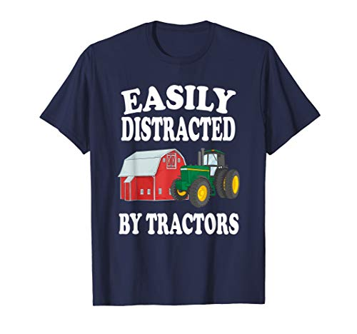 Easily Distracted By Tractors Farming Funny T-Shirt ()
