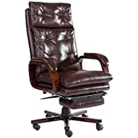 HOMCOM High Back PU Leather Executive Reclining Office Chair with Footrest - Brown
