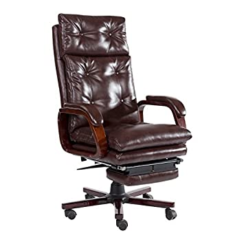 HomCom High Back PU Leather Executive Reclining Office Chair with Footrest    BrownAmazon com  HomCom High Back PU Leather Executive Reclining Office  . Office Chair Recline. Home Design Ideas