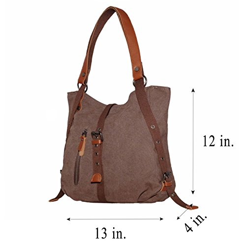 Canvas Tote Bag Purse Coffee Bag Shoulder Rucksack Women's LA SHANGRI Handbag Casual Backpack qtXpn