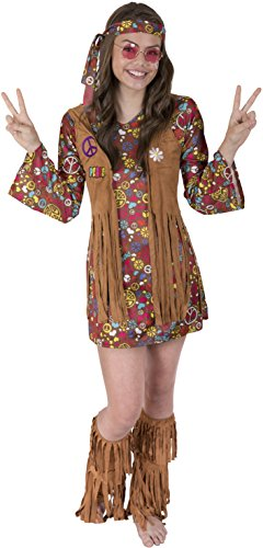 70s Girl (Kangaroo's Halloween Costumes - Love n Peace Hippie Costume, Youth Medium 8-10)