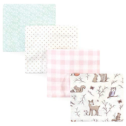 Hudson Baby 4-Piece Flannel Receiving Blanket, Enchanted Forest, One Size