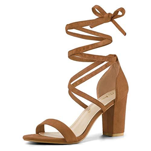 Allegra K Women's One Strap Block Heel Lace Up Brown Sandals - 9.5 M US
