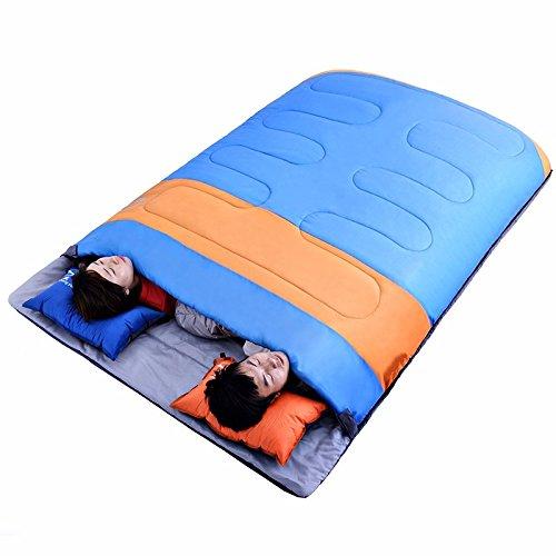 Zhudj double les amoureux de coton Sac de couchage, Printemps et d'hiver épaissir Sac de couchage, camping, Sac de couchage pour adultes, Bleu assorti Orange, Bleu, Orange  -