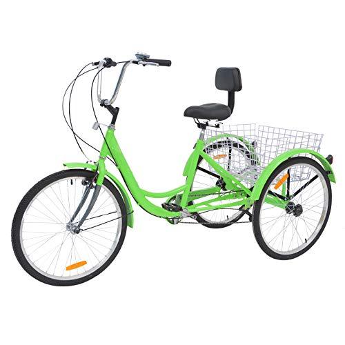 H&ZT Single Speed Adult Tricycle Trike Cruiser Bike 3 Wheeled Bicycle w/Large Basket and Maintenance Tools, Men's Women's Cruiser Bicycles, 24 Inch Wheel Size Bike Trike