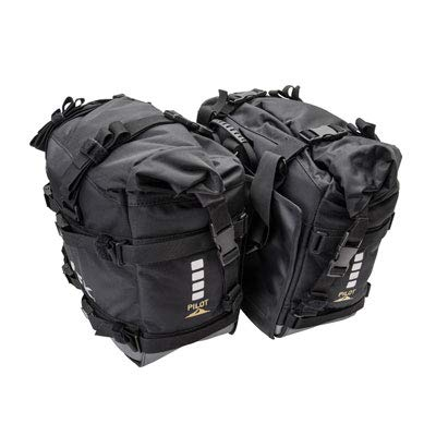 Tusk Dual Sport Adventure Motorcycle Pilot Pannier Bags - Black/Grey - Includes Neck Gaiter with Purchase