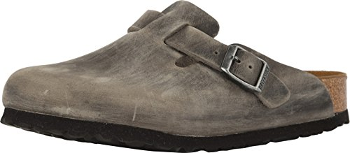 Mens Professional Clog - Birkenstock Unisex Boston Soft Footbed Iron Oiled Leather Clogs 38 R (US Women's 7-7.5)