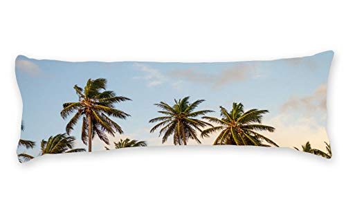 (Pillow Cover Plants Palm Tree Long Body Pillow Case Cover Silky Shiny Satin 20 x 54 Inch Custom Material)