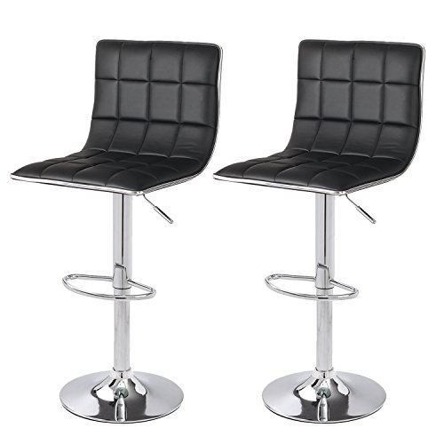 Adeco Hydraulic Lift Cushioned Adjustable Swivel Counter Barstool With Square Pattern - Black Leatherette With Chrome Pedestal Base - Adjustable Seat Height 24-32 Inches - Set of 2