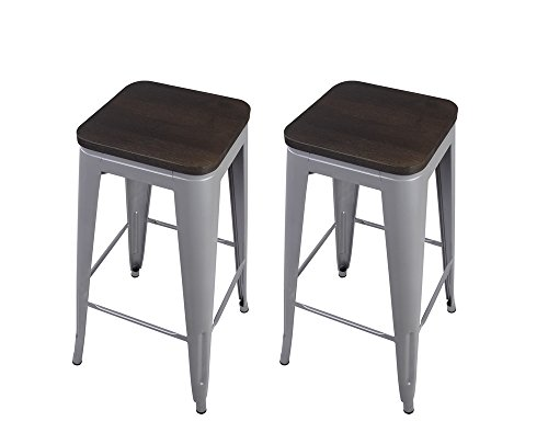 "GIA Gray 30"" Metal Stool with Wooden Seat(Set of 2) - Bar Height Square Backless - Tolix Style - Weight Capacity of 300+ Pounds - Ready to use - Extra Durable and Stackable"