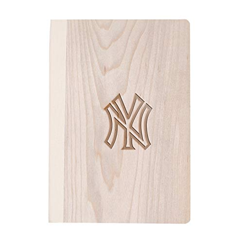 Mlb New York Yankees Logo 1 (Maple Wood) Wooden Notebook - Eco-Friendly Natural & Premium Thick Paper - Sketchbook Rustic Wood Wedding Guest Book