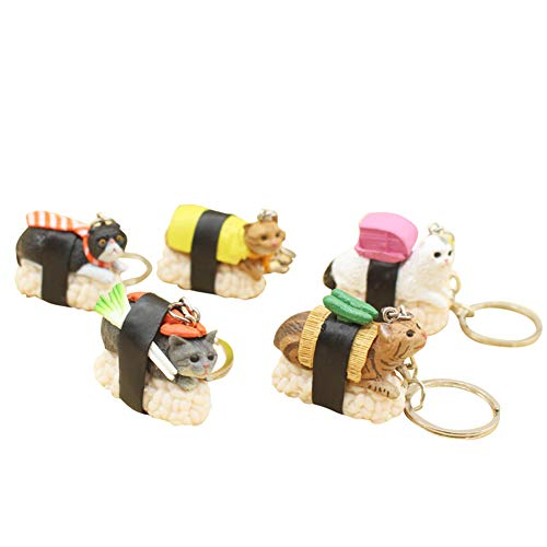 Unique Personality Of Cute Cartoon Sushi Cat Doll Keychain Includes 5 Collectable Figurines Keyring Durable Plastic