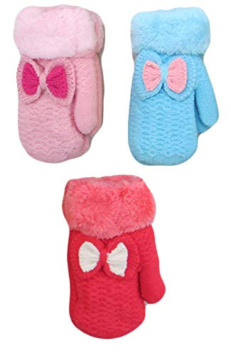 Infant-Toddler 2-3 Years Soft And Warm Fuzzy Interior Lined Mittens 6-Pack (3-5, Bow Pink Blue Fuchsia)