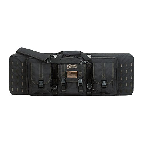 VooDoo Tactical Padded Weapons Case with Die Cut Molle, Black/Coyote, 36