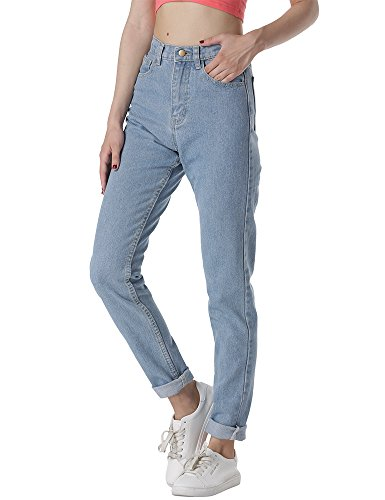 cunlin High Waist Jeans for Women Denim Pants Mom Jeans High Waisted Jeans Light Blue 26 L28
