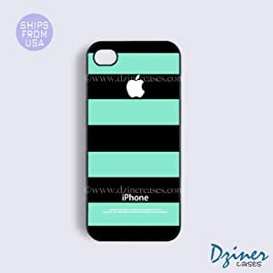 iPhone 4 4s Tough Case - Black Green White Stripes iPhone Cover