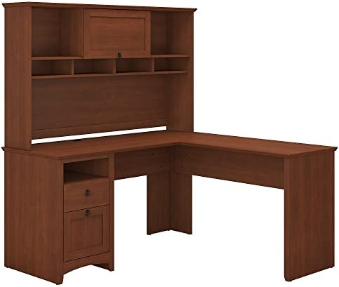Bush Furniture Buena Vista L Shaped Desk with Hutch in Serene Cherry