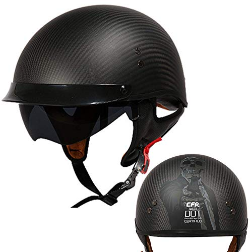 Sunzy Harley Motorcycle Half Helmet, Adult Retro Carbon Fiber Lightweight Unisex Street Scooter Helmet, DOT/ECE Approved/Black,XL