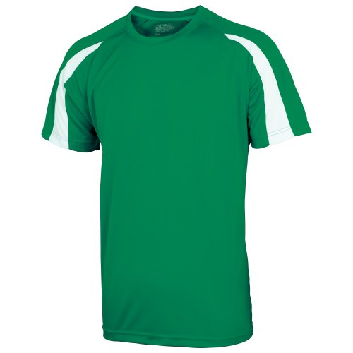 Just Cool Mens Contrast Cool Sports Plain T Shirt  L   Kelly Green Arctic White