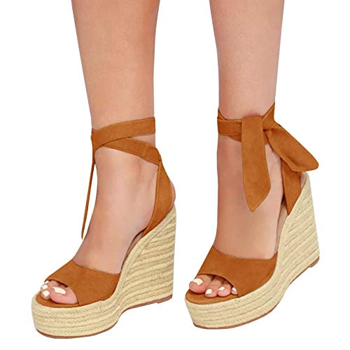 Liyuandian Womens Platform Espadrille Wedges Open Toe High Heel Sandals with Ankle Strap Buckle Up Shoes (8 M US, B Brown)