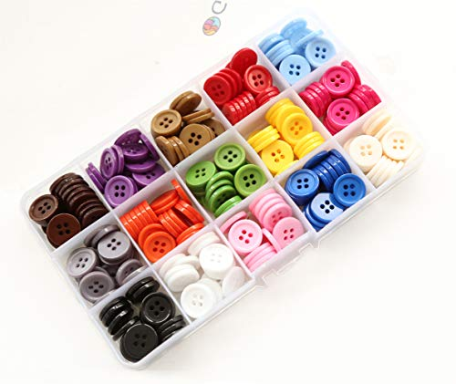"GANSSIA 5/8"" (15mm) Sewing Flatback Buttons 15 Colors Multi Pack of 300 Pcs with Box"
