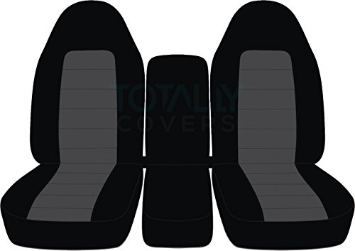 Totally Covers Fits 1994-2002 (2nd Gen) Dodge Ram Two-Tone Truck Seat Covers (40/20/40 Split Bench) w Center Console - Front: Black & Charcoal 1995 1996 1997 1998 1999 2000 2001 w/wo Integrated Belts