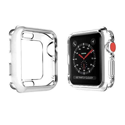 stant Soft Flexible TPU Plated Lightweight Protective Protector Bumper Compatible Apple Watch Case 42mm 38mm iwatch Series 3 Series 2 Series 1 - Clear, 42mm ()