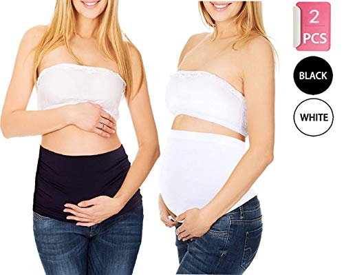 2 Pack Womens Maternity Belly Band Pregnancy Back Support Belt,Ultra thin Black and White
