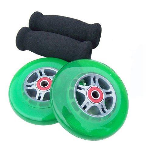 TGM Skateboards Replacement Razor Scooter Wheels, ABEC 7 Bearings, Handle Bar Grips (Green/Black)