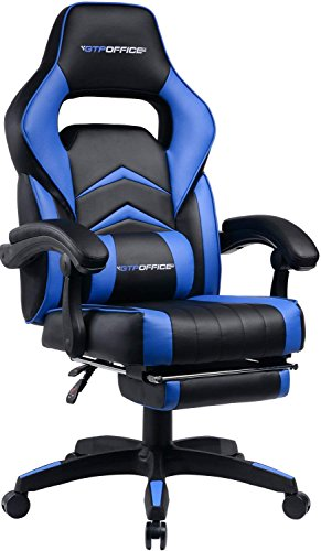 Gaming Chair Racing Style Office Swivel Computer Desk Chair Ergonomic Conference Executive Manager Work Chair PU Leather High Back Adjustable Task Chair with Lumbar and Padded Footrest (Blue)