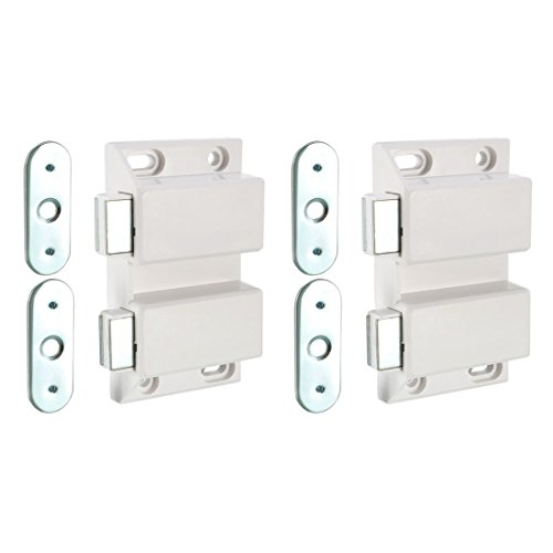uxcell Double Magnetic Touch Press Catch Latch Plastic White for Cabinet Door Shutter 5Pcs by uxcell (Image #4)