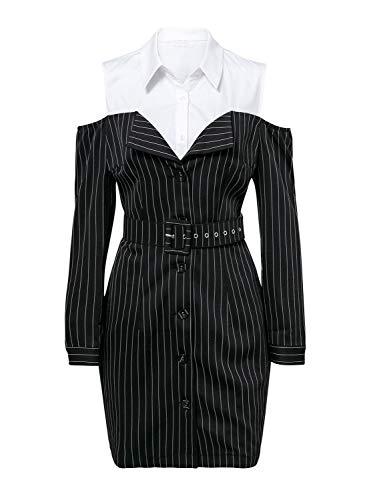 Cold Women Patchwork Striped BerryGo Black Dress Shoulder Sexy Lapel s Mini cYtFqdwgF1