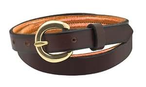 Perri's Leather Metallic Padded Leather Belt, 24-Inch, Black/Copper