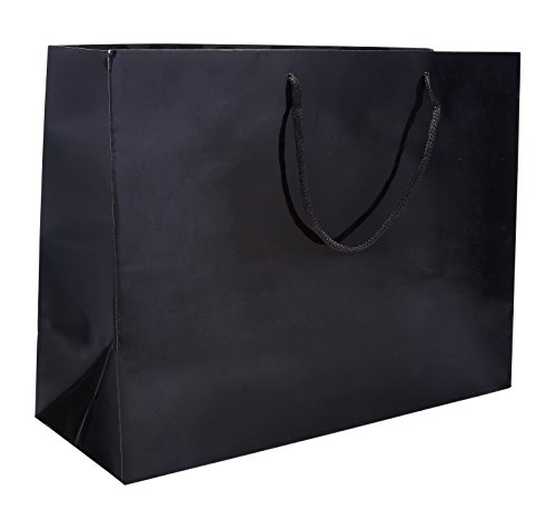 16 x 6 x 12'' Black Gloss - 100 pack |Heavy Duty Standard Original Style Paper Tote Bag Set | Perfect for Gifts, Party, Baby Shower, Kid's Birthdays, Weddings, Lunch & More by Prime Time Packaging Ltd