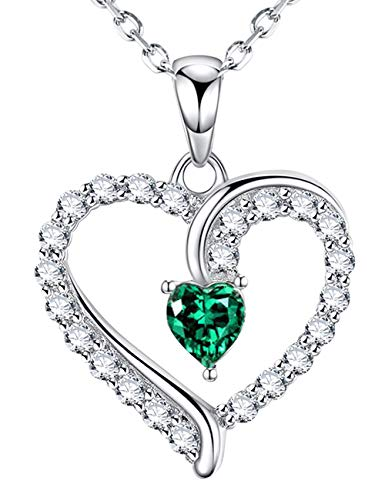 Gifts for Women Christmas Love Heart Jewelry LC Green Emerald Necklace Anniversary Birthday Gifts for Her for Wife Daughter Girlfriend Grandma Sterling Silver Charm,18