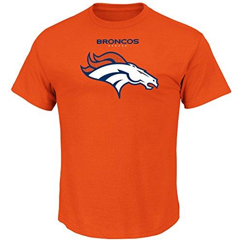NFL Denver Broncos Unisex Team Logo Screen print on Chest, Orange, 2X/Tall