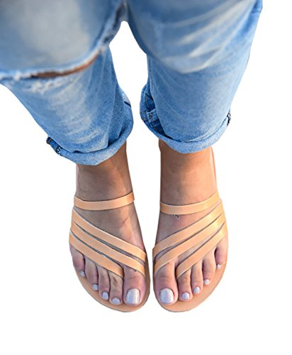 Womens Brown Open Toe Flats Leather Strappy Sandals Gladiator Summer Beach Flip ()