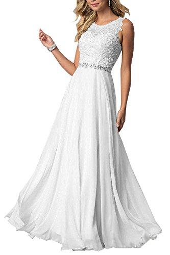 Elegant Damen Abendkleider Brautjungfernkleider mit Lang Beyonddress Weiß Applikationen Partykleid Ballkleid Kurz xP4qHIR
