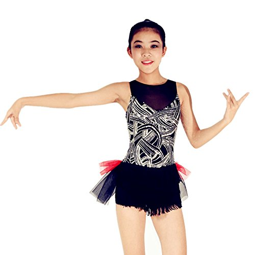 [MiDee Sequined Illusion V-neckline Tank Top With Tassels Leotard Dance Costume (IC, Black)] (Dance Costumes Kids Jazz)