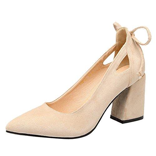 Mee Shoes Damen chunky heels Nubukleder mit Schleife Pumps Biege